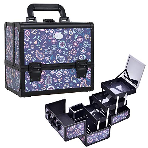 Joligrace Makeup Box with Mirror 3-Tier Trays Train Case Cosmetic Travel Organizer Lockable Portable with Brush Holder Purple
