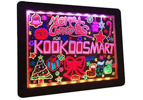 Kookoosmart LED Writing Message Board, Neon Glow Drawing Board, Light Up Flashing Box Message, Erasable Board Arts and Acrylic Kids Crafts Doodle, for Shop/School/Bar/Cafe (40×30CM)