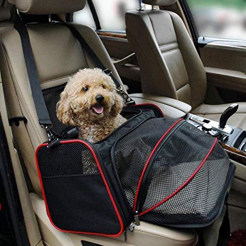 qwertyuio Funda para Asiento De Coche para Perro, Viaje para Mascotas, Bolsa De Hombro para Llevar, Paquetes Salientes, Bolso Transpirable para Cachorros Pequeños, Cojín De Seguridad