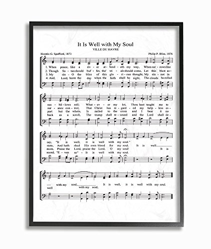 Stupell Industries It is Well With My Soul Vintage Sheet Music Black Framed Wall Art, 11 x 14, Design By Artist Lettered and Lined