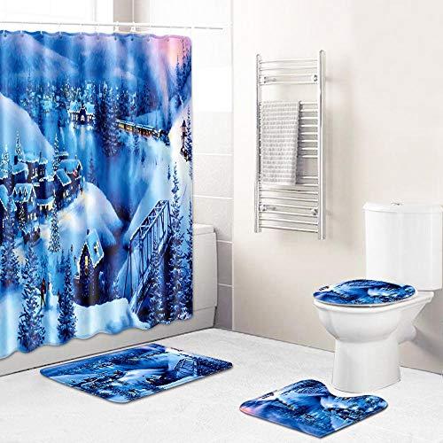 Juego de Cortina de Ducha Pista de Cabina de la Jungla Azul y Blanca Cortina de Ducha antimoho, Alfombra de baño de poliéster, Traje Antibacteriano, Juego de 4 Piezas,con 12 Ganchos