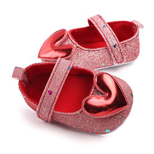 Nyuiuo Zapatos Princesa para Bebés De Suela Blanda para Antideslizantes Zapatos para Caminar para Bebés con Estampado De Amor Zapatos De Interior De Fondo Suave para Niños Zapatos De Bebé