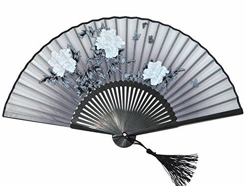 Medifier abanicos plegables de mano de bambú de seda con funda de aba