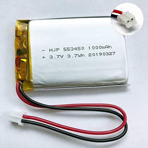 1x Lipo Akku 1s 3,7V 1000mAh JST PH Stecker Empfänger Sender Drohne Quadrocopter UFO PCB 553450 kabellos wiederaufladbar Bluetooth Headset Schlüsselanhänger Cam Uhr Video Baby Monitore etc.