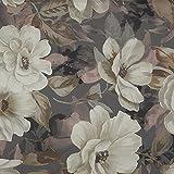 Tela por metros de loneta estampada digital - Half Panamá 100% algodón orgánico, Oeko-Tex Standard 100 - Ancho 280 cm - Largo a elección de 50 en 50 cm | Flores Gardenia - Gris, crudo, rosa, marrón