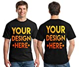 Custom 2 Sided T-Shirts - Design Your OWN Shirt - Front and Back Printing on Shirts - Add Your Image Photo Logo Text Number Black