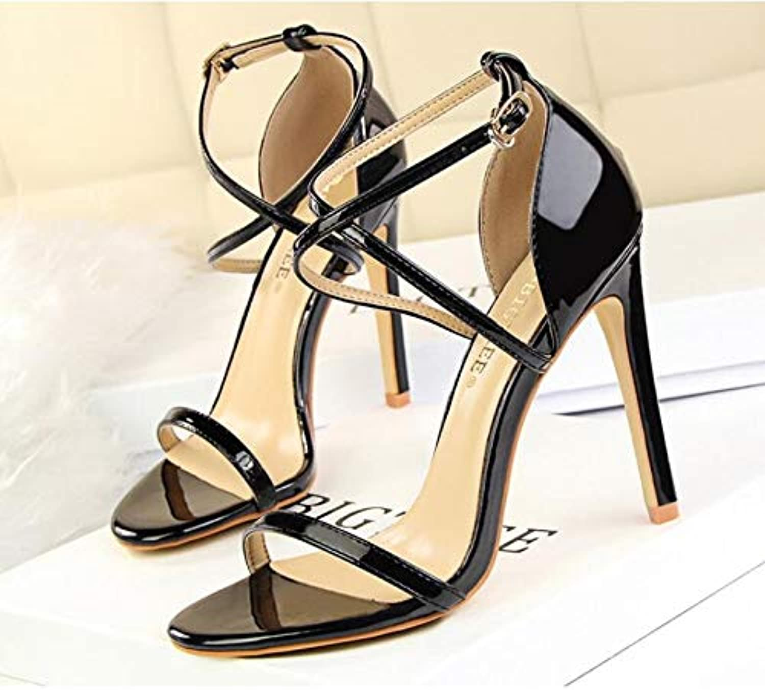 Women's Satin Spring & Summer Gladiator Sandals Stiletto Heel Open Toe Buckle Royal bluee Champagne Ivory Wedding Party & Evening Party & Evening,B,US7.5 EU38 UK5.5 CN38