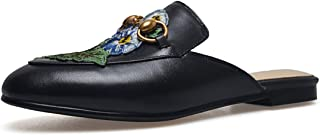 Mules for Women, Womens Leather Slip on Mule Flats Embroidery Backless Loafers Slippers Shoes