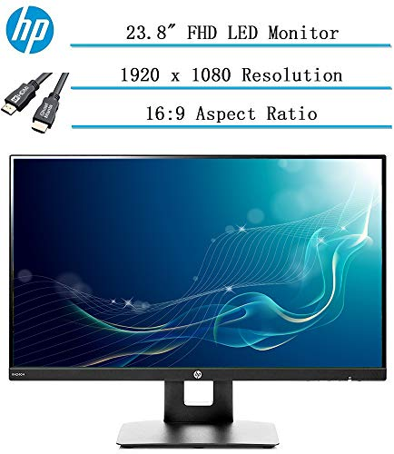 "Newest HP 23.8"" Full HD (1920x1080) IPS LED PC Computer Monitor for Business Student, Build in Speaker, VESA Mounting, Tilt, HDMI, VGA, 5ms, 16:9 Aspect Ratio, 178°, w/Ghost Manta 4K HDMI Cable"
