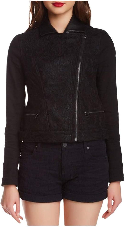 Genetic Denim Womens Layne Moto Lace Jacket Addict Black Size XS