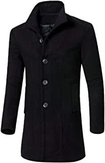 Mens Trench Coat Men Casual Jacket Warm Winter Long Outwear Button Smart Overcoat Clothes