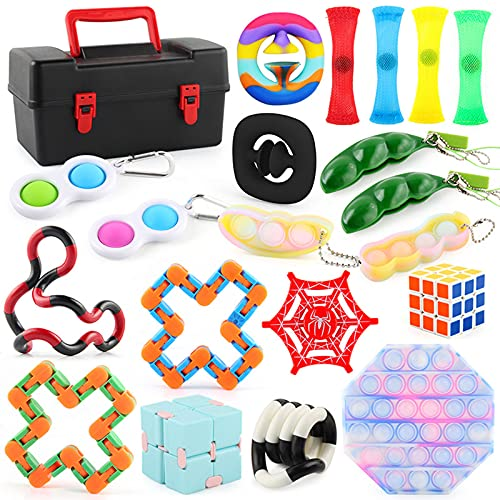 WEDSFC Sensory Fidget Toys Set,Sensory Toys for Autism, Pop It Fidget Toys for Anxiety Kids Adults,Birthday Party Favors, School Classroom Rewards, Carnival Prizes, Children's Day Gift,A