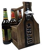khegva - cestino per bottiglie in legno con apribottiglie–portabirra per 6bottiglie
