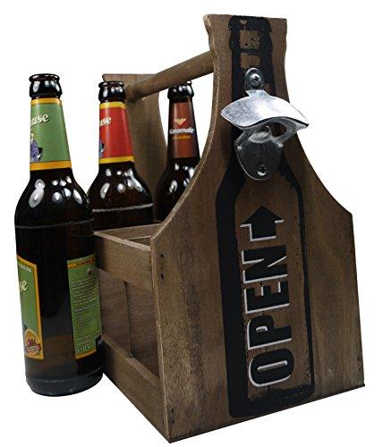 Khegva - Portabotellas de madera con abridor, para 6 botellas