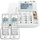 Geemarc Amplidect 295 Combi Twin - Corded Phone + Twin Cordless Handset - Loud Home Phone System with Big Buttons, Amplified Ringer, Indicator, Locator - Hearing Aid Compatible (T-coil)