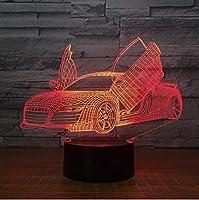 テーブルランプ3Dシザーズドアスーパーカー7色子供用LEDナイトランプタッチLEDUSBテーブルスリーピングナイトライト3D