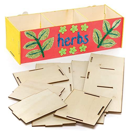 Baker Ross AX728 Kräutergarten Bastelset aus Holz für Kinder - 3er Pack, Basteln, Malen und Dekorieren