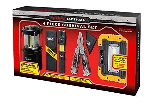 Pro-4 Tactical 4 Piece Survival Set with Portable Lumen, Flashlight with COB Lantern, 12-in-1 Pliers with Multi-Tool, and Portable Work Light