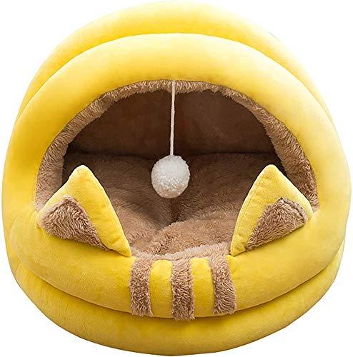Perro cama Yurt Semi-cerrado Cuerda de gato cálida, cómodo más camada para mascotas de terciopelo, almohada de gato, cálido y suave mascota acogedora anti ansiedad para mejorar el sueño, antideslizant