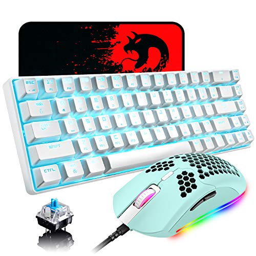 60% Mechanical Gaming Keyboard Blue Switch Mini 68 Keys Wired Type C Chroma RGB 18 Backlit Effects,Lightweight Gaming Mosue 6400DPI Honeycomb Optical,Gaming Mouse Pad for Gamers and Typists(Green)