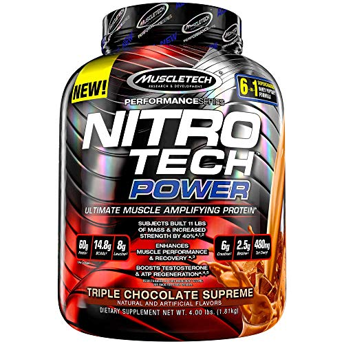 Protein Powder + Creatine Monohydrate + Testosterone Booster for Men | MuscleTech Nitro-Tech Power | Whey Protein Powder | Mass Gainer Protein Shakes | Triple Chocolate, 4 lbs (38 Servings)