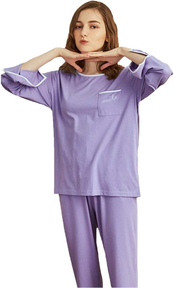 M3M Women's Sleepwear Set Pajama PJ Long New item Sleeve Sets 25% OFF Neck Round