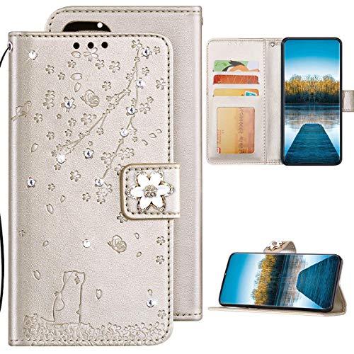 Samsung Galaxy J7 2016 Hülle Leder Tasche Flip Case Glitzer Bling Diamant Brieftasche Schutzhülle,Katze Kirschblüten Muster Klapphülle Handyhülle mit Kartenfächer für Galaxy J7 2016,Gold