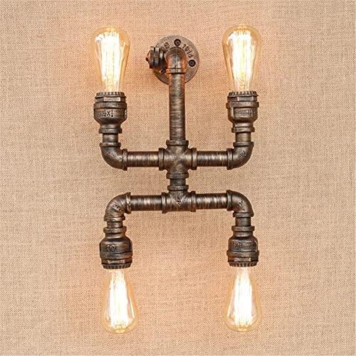 Dkdnjsk Luz del techo de la vendimia, iluminación loft E27 Vintage Industrial Metal Edison Lámparas de pared Steampunk Base de hierro labrado Lámpara de pared antigua Noche de luz para la cama Dormito