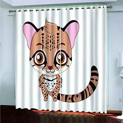 Cortinas Opacas - Impresión 3D Tarjeta Amor Caricatura Tigre Bebé - Cortinas con Ojales - Reducción De Ruido De Aislamiento, 290(H) X200(An) Cmx2 Paneles/Set