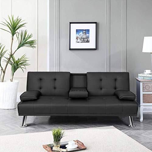 Pawnova Futon Sofa Bed, Modern Faux Leather Convertible Folding Lounge Couch for Living Room with 2 Cup Holders Removable Soft Armrest and Sturdy Metal Legs, Black