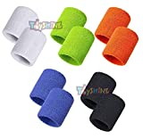 Toyshine Thick Cotton Wristbands, Athletic Sweat Bands for Sports Activities - Pack of 5 Pairs Color May Vary (SSTP) - 2