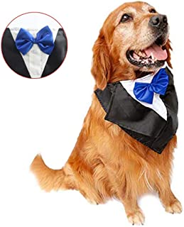 DogLemi Dogs Bowtie Tuxedo Neckwear Holloween Scarf Pet Dress-up Costumes Cosplay Accessories Blue