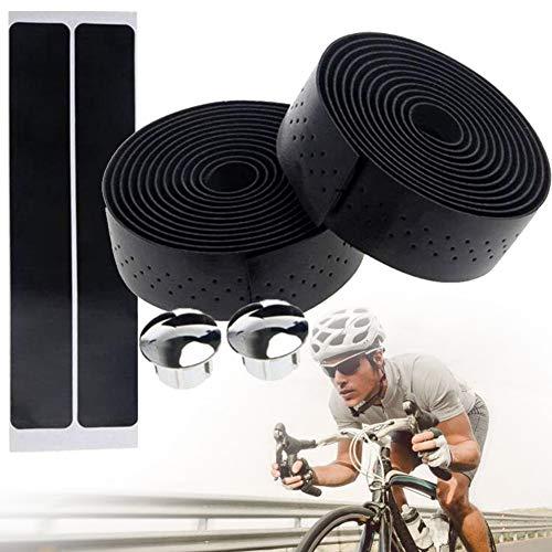 1 Paar Fahrrad-lenkerband Pu-Leder Rennrad Lenker Grip Wraps Anti-rutsch-weiche Atmungsaktive Mountainbike Lenkerbänder Mit Bar Plugs (schwarz)