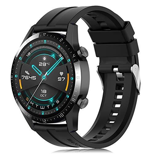 Find-MyWay Conpatible para Huawei Watch GT 2 (46mm)/Watch GT/Watch GT 2e/Watch GT2 Pro Correa para Mujer Hombre,22mm Silicona Deportiva Pulsera de Repuesto Banda Accesorios (sin Reloj)
