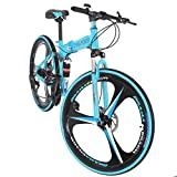 Hergoto 26-inch Folding Mountain Bike 21-Speed High-Carbon Steel Frame Full Suspension Bicycle for Teenagers and Adults Anti-Skid Bicycle-Blue