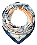 corciova 35' Large Women's Satin Square Silk Feeling Hair Scarf Wrap Headscarf Prussian Blue and Beige Trees Pattern