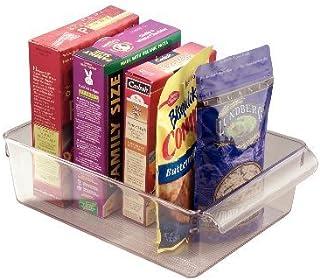 iDesign boîte de rangement à poignée, grand bac plastique pour le placard, le frigo ou le tiroir, bac alimentaire sans cou...