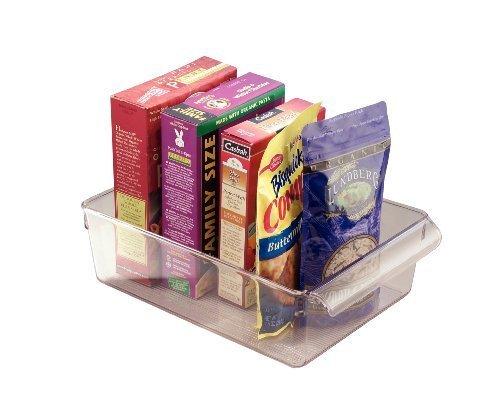 iDesign Caja transparente con asa, organizador de cocina grande de plástico, caja organizadora sin tapa para armarios, frigorífico o cajones, transparente
