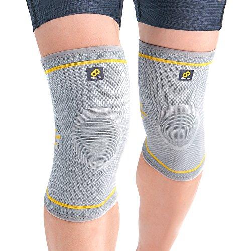 Bracoo Fulcrum KE91 膝サポーター 膝スタビライザー 膝固定 関節靭帯保護 通気性 伸縮性 保温性 滑り止め 怪我防止 アウトドアスポーツ 2枚入り グレー M