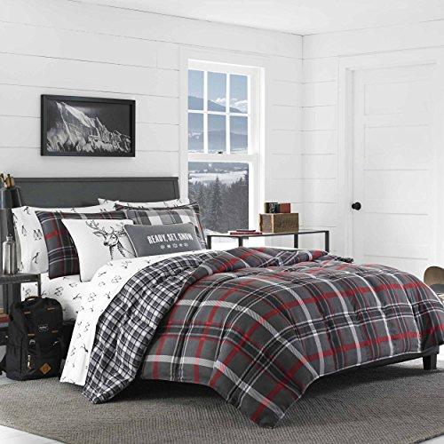 Eddie Bauer Willow Plaid Comforter Set, Full/Queen, Dark Grey