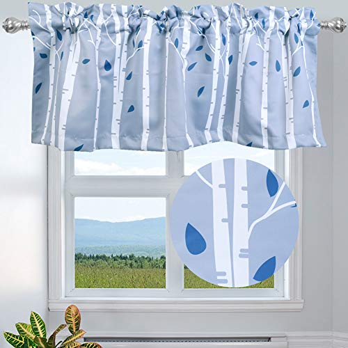 """INICEKEY Birch Tree Branches Valance Lined Thermal Insulated for Bedroom Kitchen, Forest Botanical Printed Window Toppers Valance Drape, Rod Pocket 52"""" W x 18"""" L(1 Panel,Grey)"""