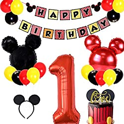 "Valore Forniture per feste di Topolino: Il pacchetto include 1 set di banner per mickey mouse, palloncini con numeri 1 * 40 ""numero 1, palloncini con testa di mickey mouse 4 * 24"", 1 cake topper,1 mickey mouse headbands e 30 * Palloncini in lattice d..."
