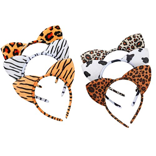 Lurrose Lot de 6 serre-têtes oreilles de chat léopard en peluche pour enfants, filles, femmes, fête d'anniversaire, cosplay
