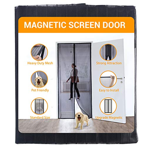 "SunArea Upgraded Magnetic Screen Door 39""W x 82""H with Black Magnet , Self Sealing, Heavy Duty, Full Frame Hook & Loop Durable Polyester Mesh Curtain Door Net Screen Fits Door Size"