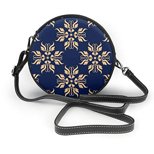 Wrution Goldene Blume Textil-Tapete auf blauem Hintergrund, personalisierbar, rund, mit Reißverschluss, Schultertasche, weiches Leder