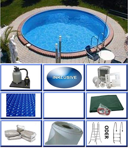 Summer Fun Stahlwandbecken Set Java Exklusiv rund ø 4,50m x 1,50m Folie 0,6mm All Inklusive Set Pool Rundpool / 450 x 150 cm Stahlwandpool