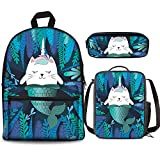 Palm Leaf - Juego de 3 mochilas de sirena con diseño de gato de 17 pulgadas y bolsa para el almuerzo, estuche para niños y niñas de 1 a 6º grado para regresar a la escuela