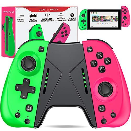 ESYWEN Switch Controller for Nintendo Joycon Controller with Macro,Motion Control, Alternative for Switch Joycon Control, Replace for Joycon Switch 1(Green&Pink)