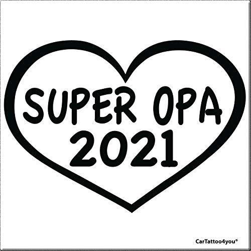 cartattoo4you® AK-00853 | SUPER Opa 2021 | K-Serie | 14 x 10 cm | schwarz |glänzend|in 24 Farben erhältlich, Autoaufkleber Aufkleber Car Sticker Heckscheibe Spruch Oma Enkel Tuning
