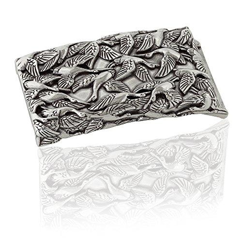 Gürtelschnalle Buckle 40mm Metall Silber Geschwärzt - Buckle Crane - Dornschliesse Für Gürtel Mit 4cm Breite - Silberfarben Geschwärzt